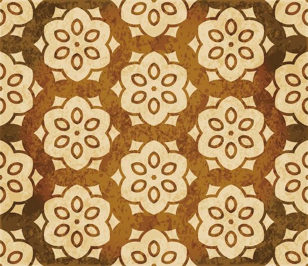 Struttura dell'acquerello marrone, modello senza soluzione di continuità, cornice croce fiore poligono