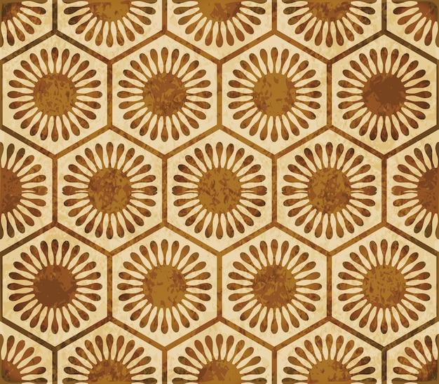 Struttura dell'acquerello marrone, modello senza soluzione di continuità, cornice fiore croce rotonda poligono