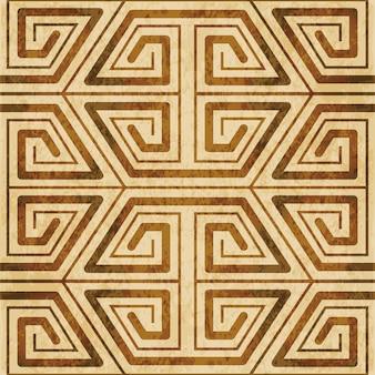 Struttura dell'acquerello marrone, modello senza soluzione di continuità, cornice trasversale a spirale del poligono