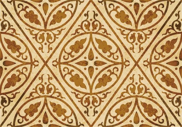 Struttura dell'acquerello marrone, modello senza cuciture, fiore trasversale del rombo della curva rotonda