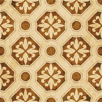 Struttura dell'acquerello marrone, modello senza cuciture, fiore di linea di punti poligono rotondo