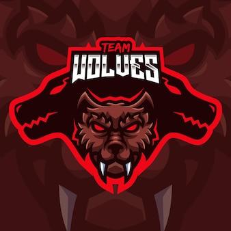 Modello di logo di gioco della mascotte del lupo marrone per lo streamer di esports facebook youtube