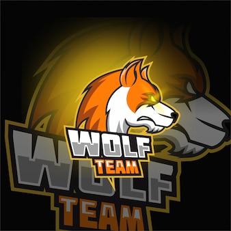 Gioco di logo mascotte lupo marrone