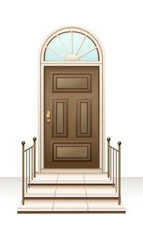 Stile lussuoso ad ovest della porta della casa di legno marrone