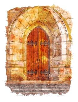 Porta in legno marrone e pareti in pietra acquerello