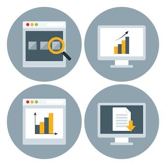 Insieme dell'icona del cerchio del sito web del browser. icone stilizzate piatte
