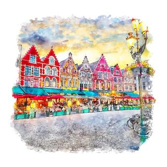 Illustrazione disegnata a mano di schizzo dell'acquerello di bruges belgio