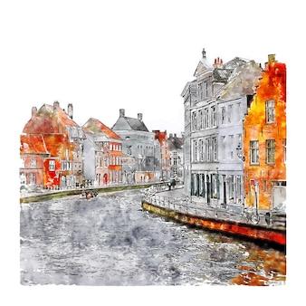 Illustrazione disegnata a mano di schizzo dell'acquerello di brugge belgio