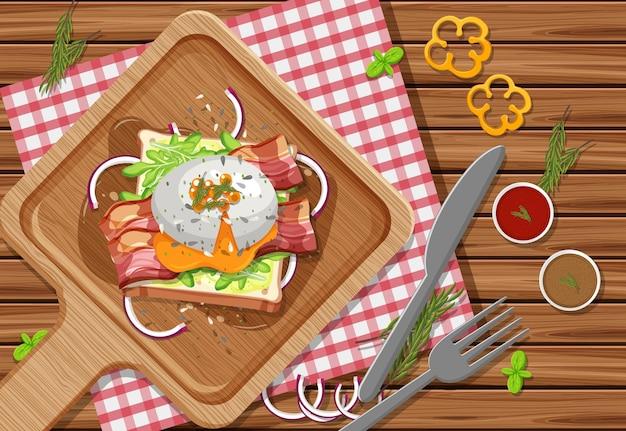 Brunch o piatto per la colazione in stile cartone animato sul tavolo