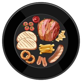 Brunch o colazione in un piatto in stile cartone animato sul tavolo