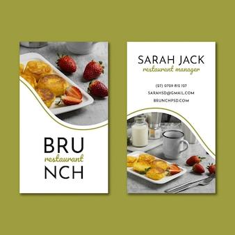 Modello di biglietto da visita fronte-retro del ristorante per il brunch
