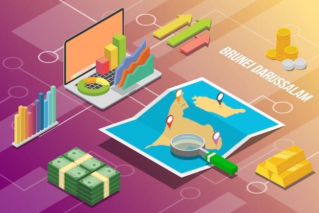 Paese di crescita di economia aziendale isometrica di brunei darussalam
