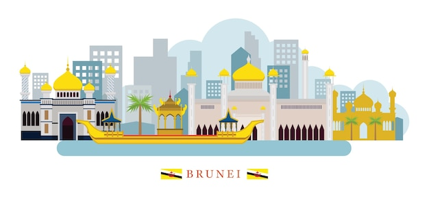 Luoghi d'interesse di skyline del brunei