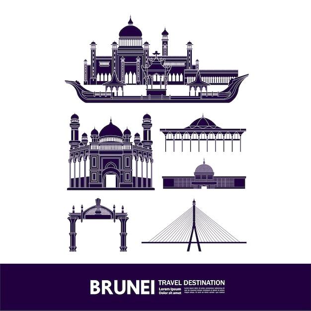Grande illustrazione della destinazione di viaggio brunei.