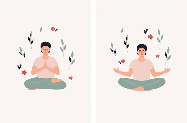 Brunet uomo seduto nella posizione del loto con foglie e fiori