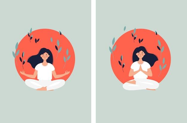 Donna castana che medita nella posizione di loto sui precedenti e sulle foglie del sole
