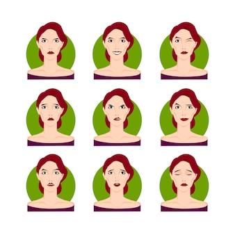 Donna castana imposta illustrazione vettoriale. ragazza dai capelli castani giovane donna in stile cartone animato, ritratti, volti con diverse espressioni del viso, emozioni. facile da modificare. design della collezione di personaggi.