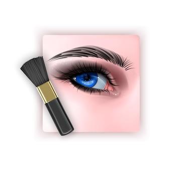 Pennello per sfumare l'ombretto e un pennello per il trucco in uno stile realistico