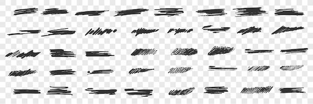 Insieme di doodle di scarabocchi disegnati a mano pennello