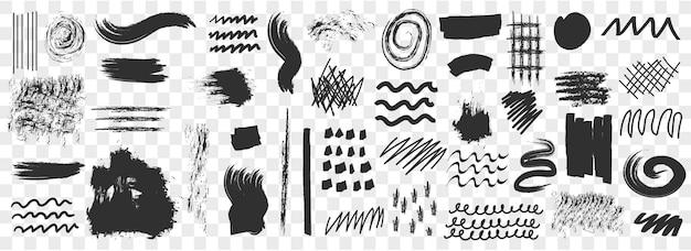 Pennello sottolineature disegnate a mano, cerchi, quadrati insieme di set. pennello da collezione.