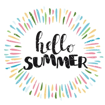 Composizione scritta a pennello frase ciao estate e schizzi di colore intorno