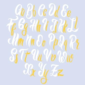 Pennello lettering alfabeto dei caratteri.