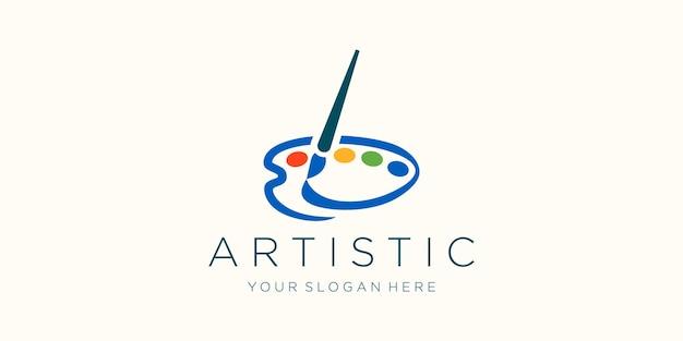 Disegno del logo ad acquerello icona pennello e tavolozza
