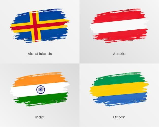 Bandiere di pennellate delle isole aland, austria, india e gabon