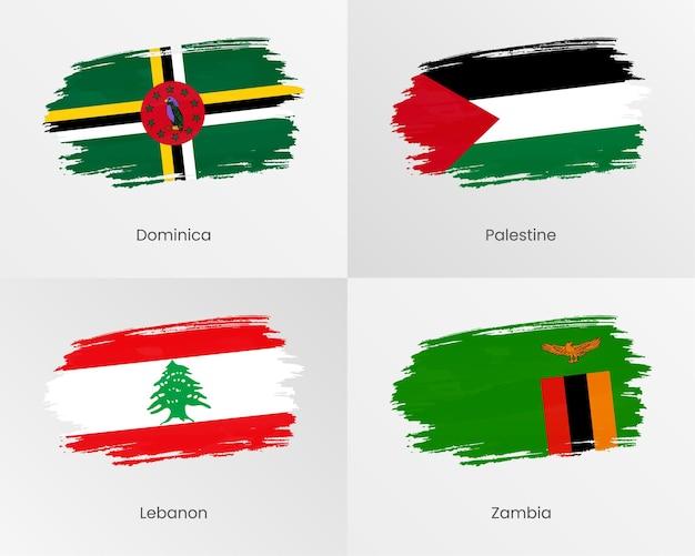 Bandiere di pennellate di dominica, palestina, libano e zambia