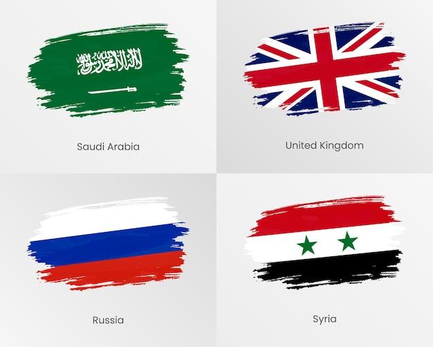Bandiere di pennellate di arabia saudita, regno unito, russia e siria