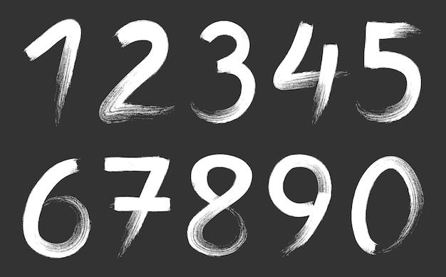 Set di numeri di tratti di pennello