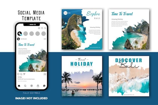 Set di modelli di post sui social media per le vacanze di viaggio con pennello bianco blu