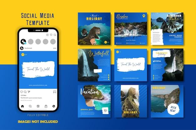 Pennello modello di post sui social media per le vacanze di viaggio sulla spiaggia del mare blu giallo