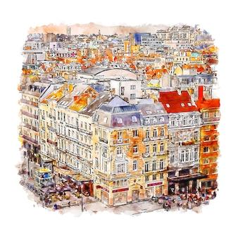 Illustrazione disegnata a mano di schizzo dell'acquerello di bruxelles belgio