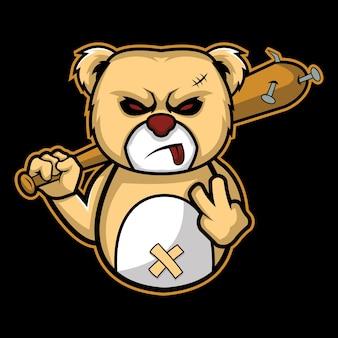 Brutal bear doll esport logo illustrazione