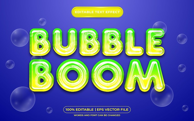 Bolla di bolla effetto testo modificabile stile liquido