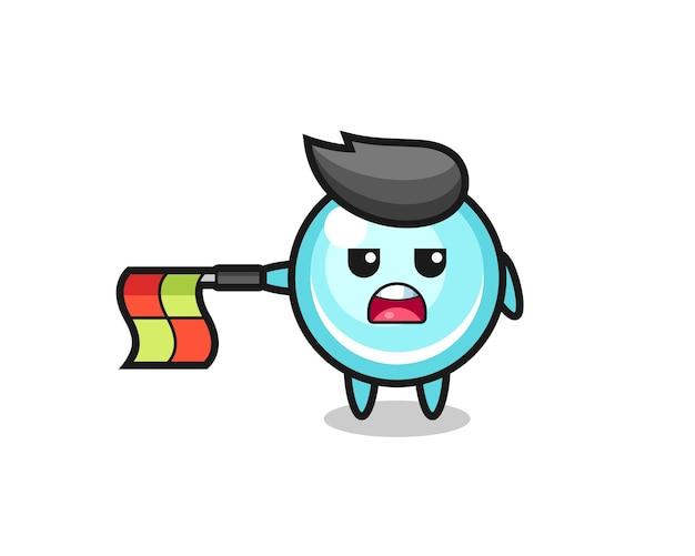 Il personaggio della bolla come giudice di linea tiene la bandiera dritta orizzontalmente, design in stile carino per maglietta, adesivo, elemento logo