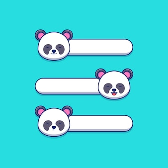 Bubble chat illustrazione vettoriale design con panda avatar