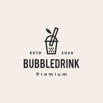Illustrazione d'annata dell'icona di logo dei pantaloni a vita bassa di boba della bevanda della bolla