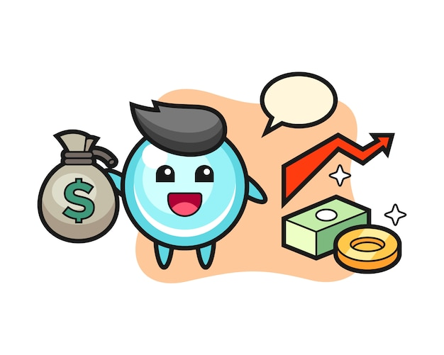 Sacco dei soldi della tenuta del fumetto dell'illustrazione della bolla, progettazione sveglia di stile