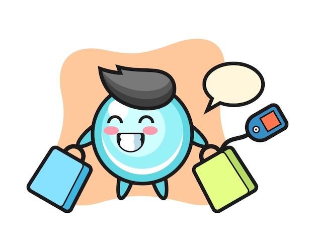 Fumetto della mascotte della bolla che tiene un sacchetto della spesa, progettazione sveglia di stile