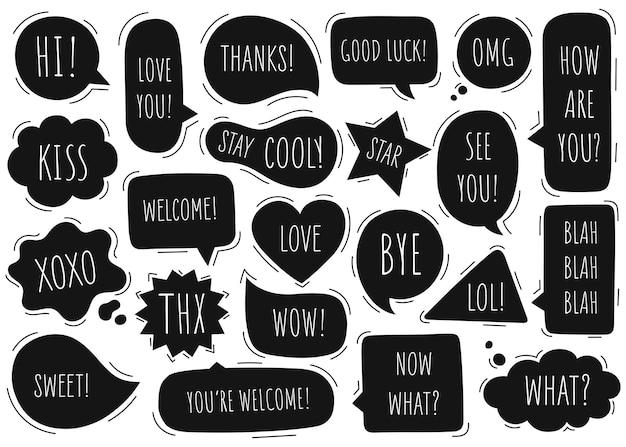 La raccolta di discorso della bolla comunica. doodle disegnato a mano.