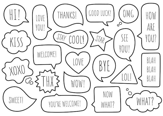 La raccolta di discorso della bolla comunica isolato su priorità bassa bianca. scarabocchio disegnato a mano. illustrazione vettoriale.