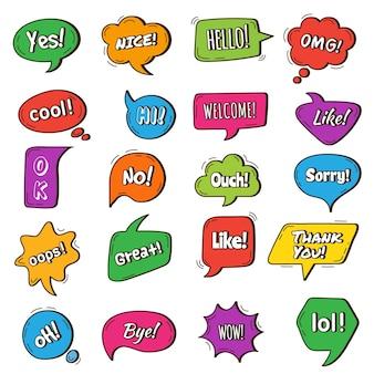 Discorso bolla. cornici rotonde di discorso con frasi diversi tag parole di dialogo simboli di chat vettoriali. illustrazione di conversazione con cornice a bolle, dialogo di comunicazione colorato di forma