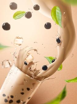 Bubble tea annunci con schizzi di tè al latte e perla che versa nella tazza di vetro, illustrazione 3d