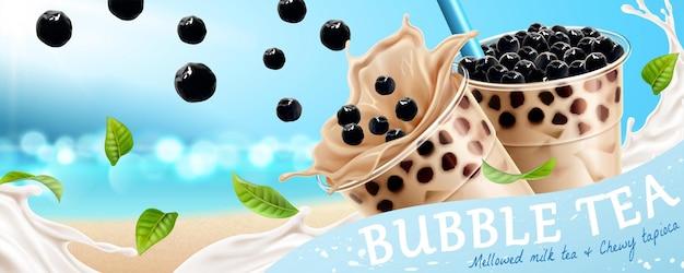 Annunci di banner di bubble tea con tapioca volante e latte sullo sfondo scintillante dell'oceano nell'illustrazione 3d
