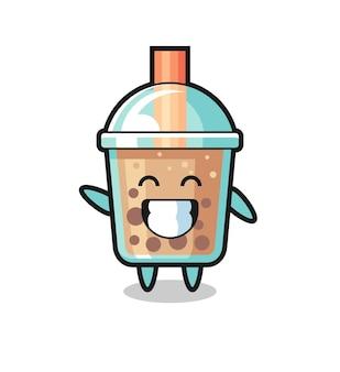 Personaggio dei cartoni animati del tè della bolla che fa il gesto della mano dell'onda, design in stile carino per maglietta, adesivo, elemento logo