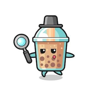 Personaggio dei cartoni animati di bubble tea che cerca con una lente d'ingrandimento, design in stile carino per maglietta, adesivo, elemento logo