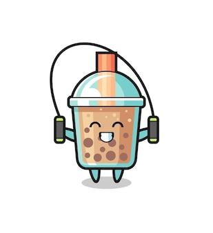 Bubble tea personaggio dei cartoni animati con corda per saltare, design in stile carino per t-shirt, adesivo, elemento logo