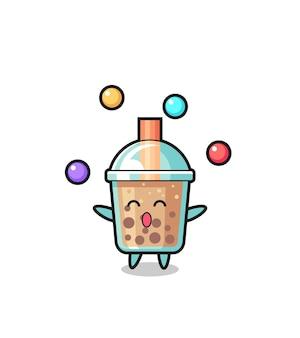 Il fumetto del circo del bubble tea che si destreggia con una palla, design in stile carino per maglietta, adesivo, elemento logo